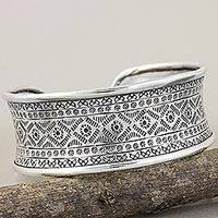 Silver cuff bracelet, 'Karen Signature' - Hand Stamped Handcrafted Silver 950 Hill Tribe Bracelet