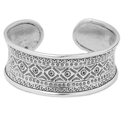 Silver cuff bracelet, 'Karen Signature' - Hand Stamped Handcrafted Silver 950 Hill Tribe Bracelet