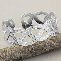 Sterling silver cuff bracelet, 'Winding Road' - 925 Sterling Silver Cuff Bracelet Hand Made in Thailand