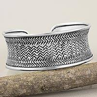Silver cuff bracelet, 'Engraved Karen Weave' - Thai Hill Tribe Hand Stamped Handcrafted Silver 950 Bracelet