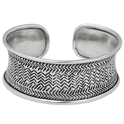 Silver cuff bracelet, 'Engraved Karen Weave' - Thai Hill Tribe Hand Stamped Handcrafted Silver 950 Bracelet