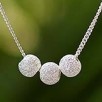 Sterling silver pendant necklace, 'Shining Trio' - Sterling Silver Trio Pendant Necklace from Thailand