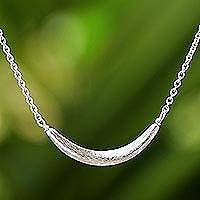 Sterling silver pendant necklace, 'Moon Light'