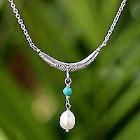 Cultured pearl pendant necklace, 'Moon and Starlight' - Cultured Pearl and Calcite Pendant Necklace from Thailand