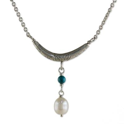 Cultured Pearl and Calcite Pendant Necklace from Thailand