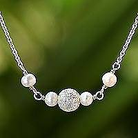 Cultured pearl pendant necklace, 'Glowing Moons'