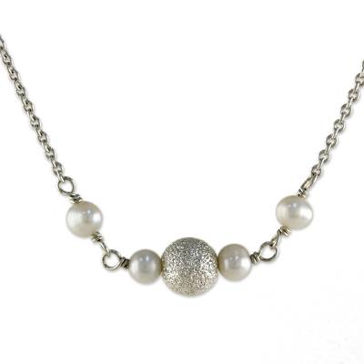 Cultured pearl pendant necklace, 'Glowing Moons' - Cultured Pearl and Sterling Silver Necklace from Thailand