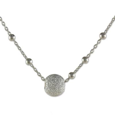 Sterling silver pendant necklace, 'Beaded Sparkles' - Sterling Silver Calcite Beaded Pendant Necklace Thailand