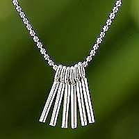 Sterling silver pendant necklace, 'Skeleton Keys' - Sterling Silver Adjustable Pendant Necklace from Thailand