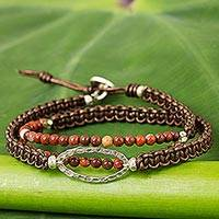 Jasper beaded wrap bracelet, 'Time to Travel' - Jasper and Silver Wrap Bracelet Leather Cord from Thailand