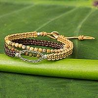 Jasper and unakite beaded wrap bracelet, 'Time to Travel' - Jasper and Unakite Wrap Bracelet Leather Cord from Thailand