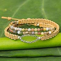 Jasper beaded wrap bracelet, 'Nature's Spirit' - Jasper Wrap Bracelet Braided Leather Cord from Thailand
