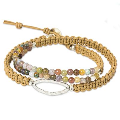 Jasper beaded wrap bracelet, 'Nature's Spirit' - Jasper Wrap Bracelet Braided Leather Cord from Thailand