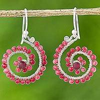 Quartz dangle earrings, 'Floral Spirals in Pink' - Pink Quartz Sterling Silver Dangle Earrings from Thailand