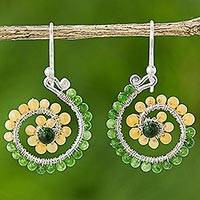 Quartz dangle earrings, 'Floral Spirals in Green'