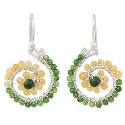 Quartz dangle earrings, 'Floral Spirals in Green' - Green Yellow Quartz Silver Dangle Earrings from Thailand