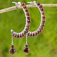 Tiger's eye and jasper half-hoop earrings, 'Floral Drops' - Tiger's Eye Jasper Half Hoop Earrings from Thailand