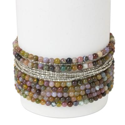 Jasper beaded wristband bracelet, 'Beaded River' - Thai Beaded Jasper Leather and Wristband 950 Silver Bracelet