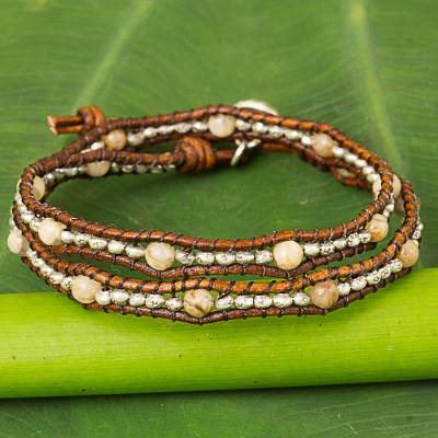 Jasper and leather wrap bracelet, Hill Tribe Sunflower