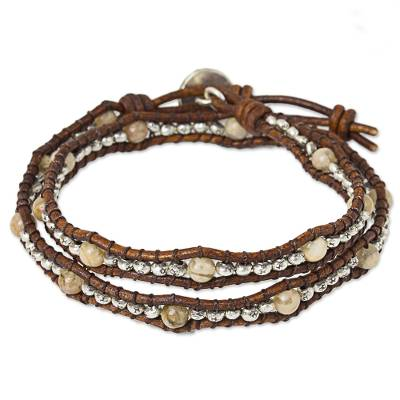 Jasper and leather wrap bracelet, 'Hill Tribe Sunflower' - Thai Leather Jasper and Karen Silver Beaded Wrap Bracelet