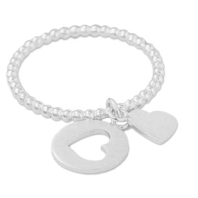 Sterling silver charm ring, 'Perfect Fit' - Heart Shaped Sterling Silver Charm Ring from Thailand