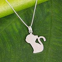 Sterling silver pendant necklace, 'The Kitten' - Sterling Silver Kitten Pendant Necklace from Thailand