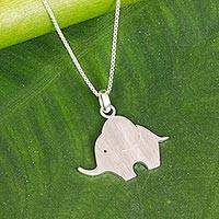Sterling silver pendant necklace, 'Adventurous Elephant' - Sterling Silver Baby Elephant Pendant Necklace from Thailand