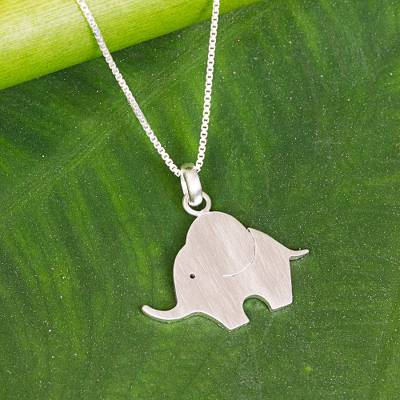 Novica Sterling silver pendant necklace, Baby Elephant