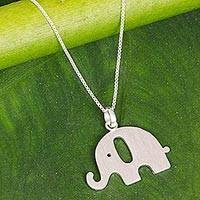 Sterling silver pendant necklace, 'Exuberant Elephant' - Sterling Silver Elephant Pendant Necklace from Thailand