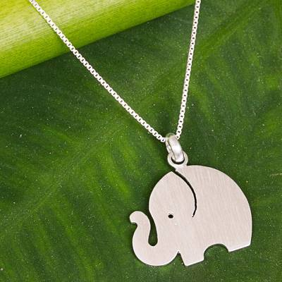 Sterling silver pendant necklace, 'Curious Elephant' - Sterling Silver Simple Elephant Pendant Necklace Thailand