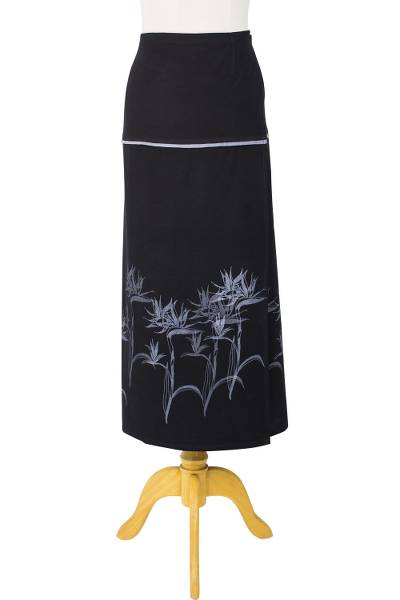 Cotton wrap skirt, 'Bird of Paradise' - Cotton Black Wrap Skirt with Gray Bird of Paradise Design