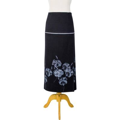 Cotton wrap skirt, 'Hibiscus' - Cotton Black Wrap Skirt grey Printed Hibiscus Flower Design