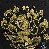 'Zodiac Monkey' - Stylized Thai Zodiac Monkey Painting on Canvas
