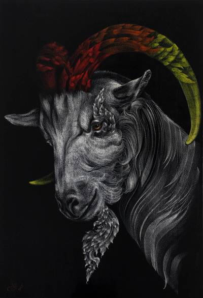 'The Goat' (2016) - Thai Mixed Media Painting of Horned Goat