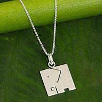 Sterling silver pendant necklace, 'Block Elephant' - Brushed Finish Sterling Silver Elephant Pendant Necklace