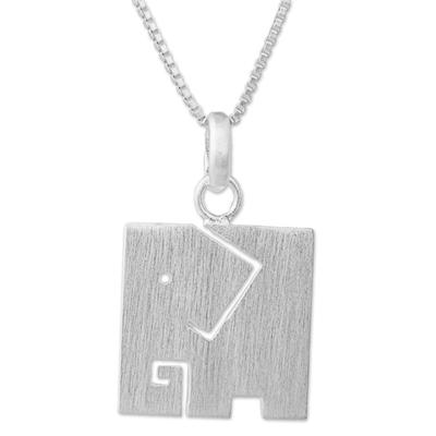 Brushed Finish Sterling Silver Elephant Pendant Necklace