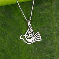 Sterling silver pendant necklace, 'The Dove' - Sterling Silver Pendant Necklace Dove from Thailand