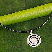 Sterling silver pendant necklace, 'Moon Wind'