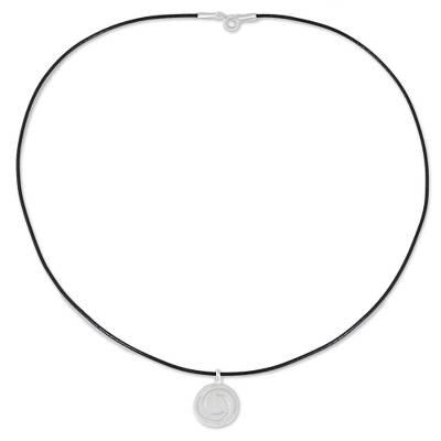 Sterling silver pendant necklace, 'Moon Wind' - Sterling Silver Pendant Necklace Spiral Motif from Thailand