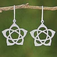 Sterling silver dangle earrings, 'Lotus Stars' - Sterling Silver Dangle Earrings Floral Star from Thailand