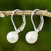 Cultured pearl drop earrings, 'Pure Lily'