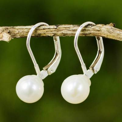 Cultured pearl drop earrings, 'Pure Lily' - Cultured Pearl Drop Earrings High Polish from Thailand