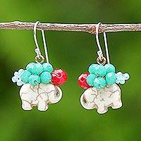 Beaded dangle earrings, 'Welcoming Elephant in White' - White Calcite and Glass Bead Elephant Dangle Earrings