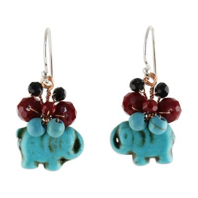 Beaded dangle earrings, 'Welcoming Elephant in Blue' - Blue Calcite and Glass Bead Elephant Dangle Earrings