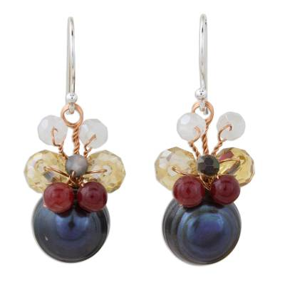 Black Cultured Pearl Dangle Earrings with Butterfly Motif