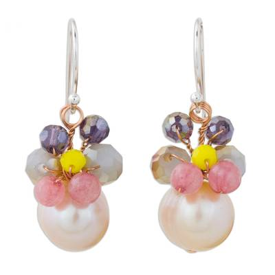 Pink Cultured Pearl Dangle Earrings with Butterfly Motif