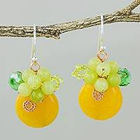 Quartz dangle earrings, 'Moonlight Garden in Orange' - Orange Quartz and Glass Bead Dangle Earrings with Copper