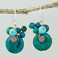 Serpentine dangle earrings, 'Moonlight Garden in Teal' - Teal Serpentine and Glass Bead Dangle Earrings with Copper