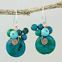 Serpentine dangle earrings, 'Moonlight Garden in Teal' - Teal Serpentine and Glass Bead Dangle Earrings with Copper