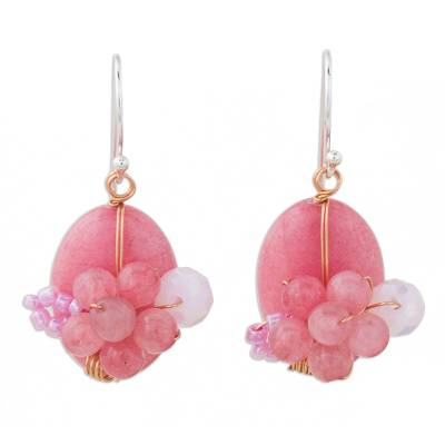 Handmade Pink Quartz and Glass Bead Dangle Earrings